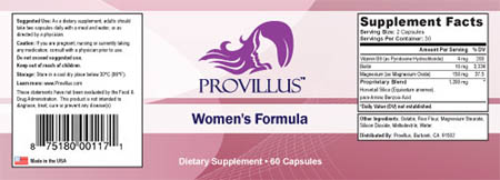 Provillus supplement facts